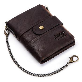 100% Genuine Leather Rfid Wallet Men Crazy Horse Wallets Coin Purse Short Male Money Bag Mini Walet High Quality Boys 9