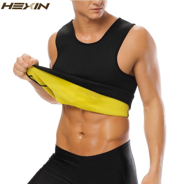 1d711c34b5d HEXIN Men s Sweat Vest Body Shaper Shirt Hot Thermo Slimming Sauna Suit  Weight Loss Black Shapewear Ultra Neoprene Waist Trainer