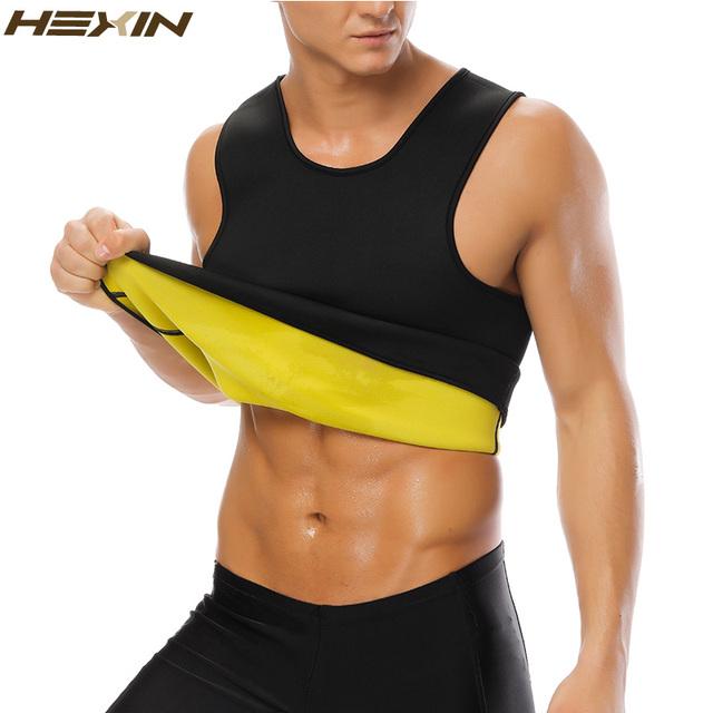 HEXIN Men's Sweat Vest Body Shaper Shirt Hot Thermo Slimming Sauna Suit Weight Loss Black Shapewear Ultra Neoprene Waist Trainer