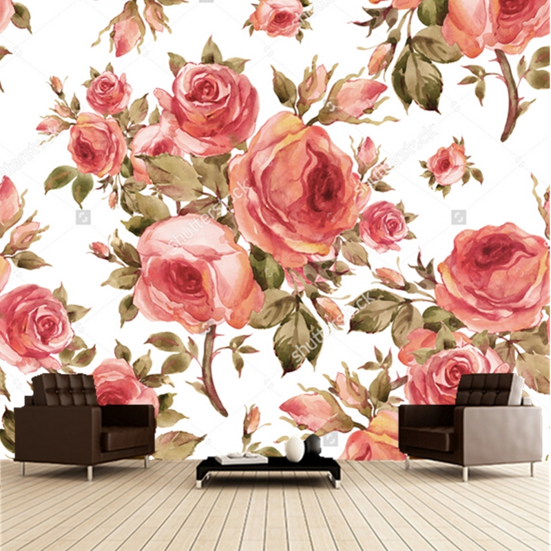 Custom Floral Wallpaper, Red Rose,3D Retro Wallpaper For