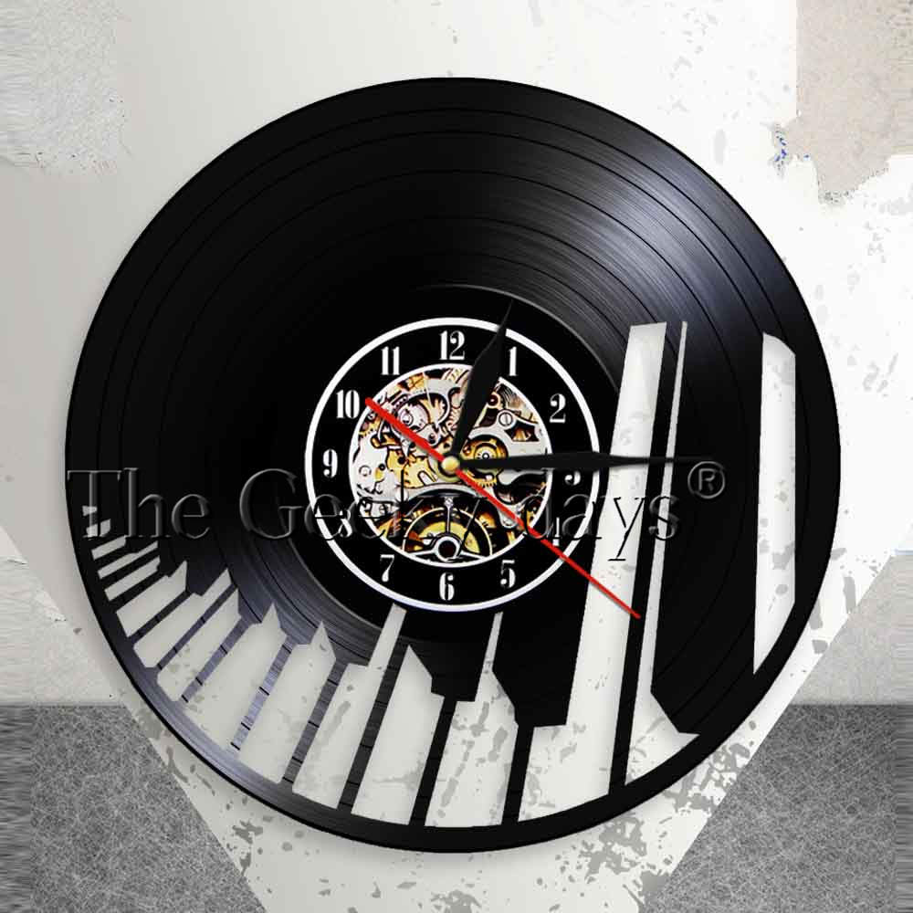 Sound Wave Piano Keyboard Wall Art Wall Clock Pianist Vinyl Record Wall Clock Musical Home Decor Classical Music Lovers Gift