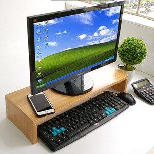 Image 3 - 나무 데스크탑 모니터 스탠드 라이저 홀더 키보드베이스 스토리지 랙 작은 책장 두꺼운 보드 노트북 스탠드 선반