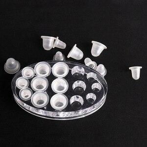 Image 5 - 500 adet S/L tek kullanımlık Microblading dövme mürekkep bardaklar yumuşak silikon kaş makyaj Pigment tutucu konteyner kapakları dövme aksesuarları