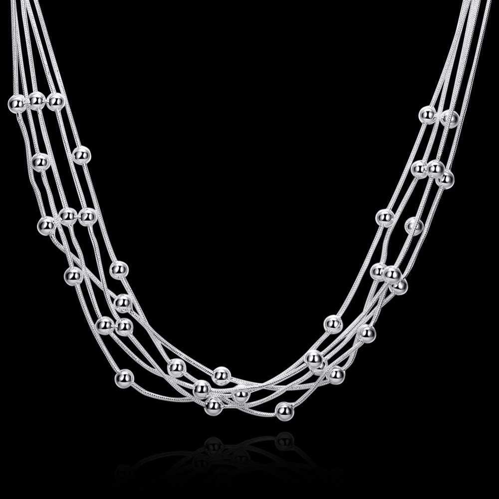 LEKANI النساء غرامة مجوهرات 925 فضة 18 ''خمسة خطوط الخرز ثعبان سلسلة كرات سحرية متعدد الطبقات القلائد collares