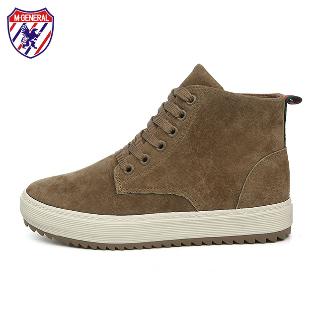 M.GENERAL Women Pigskin High Top Casual Shoes Woman Leather Breathable Shoe Winter Warm Comfortable Shoes Penny Loafers #MJ-0123