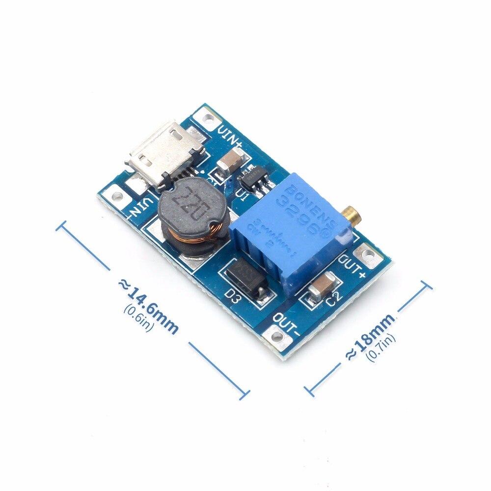 1pcs 2A boost board DC-DC boost module Wide voltage input 2 24V L 5912 28V adjustable 2577