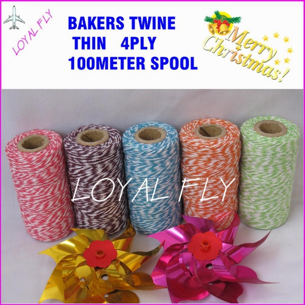 100 stks / partij bakkers touw dunne 4ply 100 m / spool 22 kleur - Feestversiering en feestartikelen - Foto 1