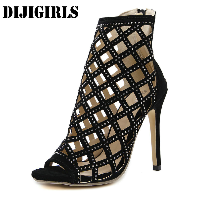 Women High Heel Sandals Shoes Classic Peep Toe Cut Out High Heels Ankle Boots Woman Sexy Party Wedding Ladies Shoes Stilettos купить