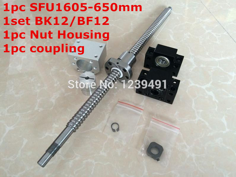 SFU1605 - 650mm Ballscrew + SFU1605 Ballnut + BK12 BF12 End Support + 1605 Ballnut Housing + 6.35*10 Coupler CNC rm1605-c7 sfu1605 700mm ballscrew sfu1605 ballnut bk12 bf12 end support 1605 ballnut housing 6 35 10 coupler cnc rm1605 c7