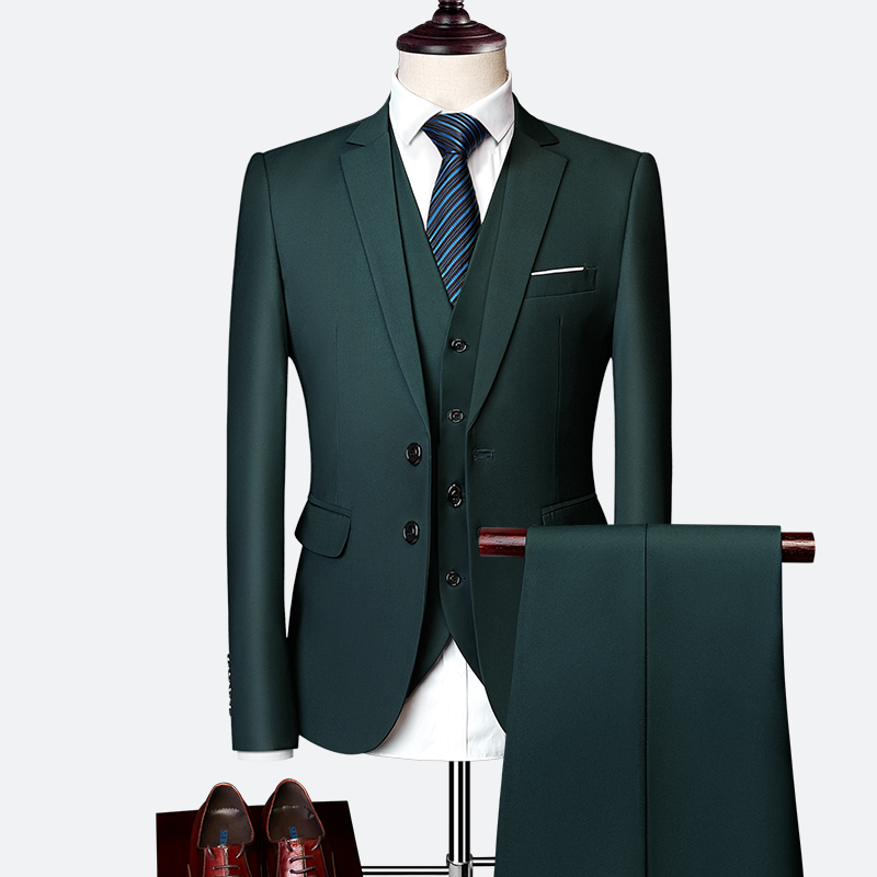 Luxury 3 Piece Men's Wedding Suit Fashion Men's Slim Solid Color Business Office Suit Sets Large Size Men Blazer+ Pants + Vest