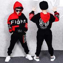 Boy Tracksuits Spring Autumn Kids Outfits Boys Sports Suits Cotton Hooded Letter Fight 90 Clothing Sets Boys For 6 8 10 12 14 Y