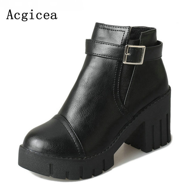 89db6191a4e US $21.5 |2017 New Classic Women Ankle Boots Concise Western Style Spring  Autumn Shoes Woman Soft Lady 8cm High Heels Buckle Rain Boot -in Ankle  Boots ...