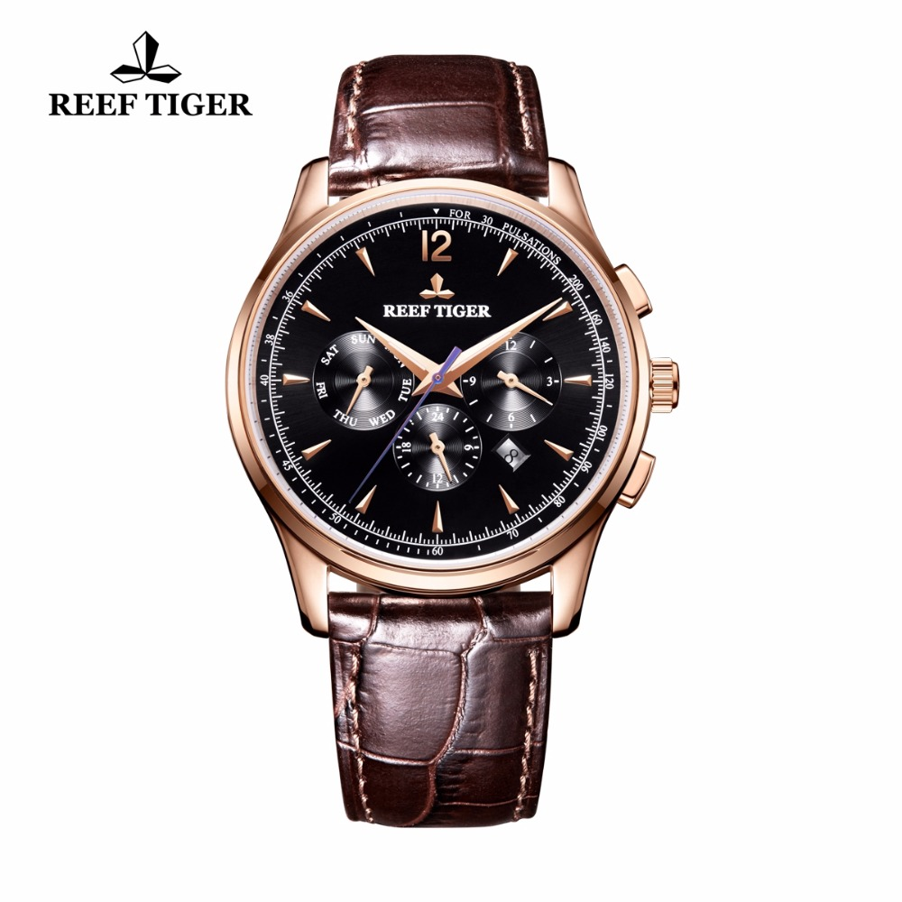 Reef Tiger/RT Top Brand Luxury Watch Men 2018 Rose Gold Genuine Leather Strap Automatic Mechanical Watches Date Day RGA1654 вьетнамки reef day prints palm real teal