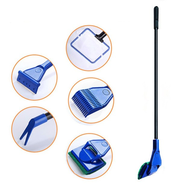 Clean Set Aquarium Cleaner Fish Net Gravel Rake Algae Scraper Fork Sponge Brush Glass Cleaning Tools