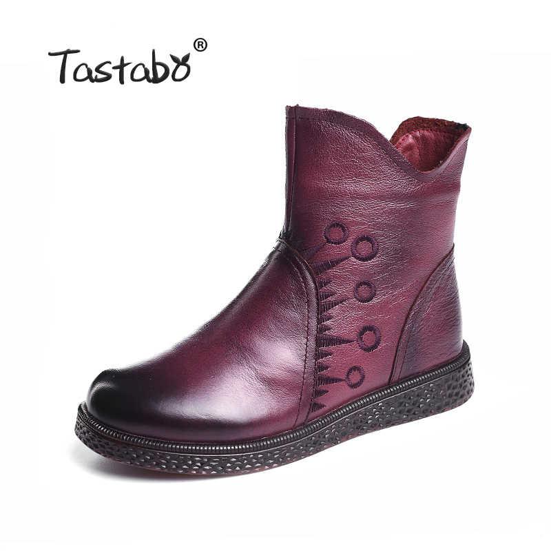 Tastabo Inek Hakiki deri yarım çizmeler Kadınlar için 2019 moda Rahat Bayanlar Anne anne ayakkabısı Flats ayakkabı kadın botas mujer