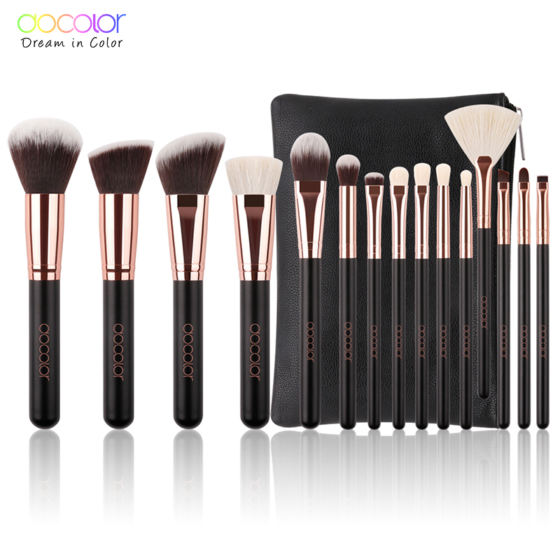 Docolor 15pcs Makeup Brushes Powder Foundation Eyeshadow Make Up Brushes Set Cosmetic Brushes Soft Synthetic Hair With PU Case brushes natural 1pcs eyebrow foundation eyeshadow brush set 7 makeup case brushes soft wooden makeup holder cosmetic makeup hair