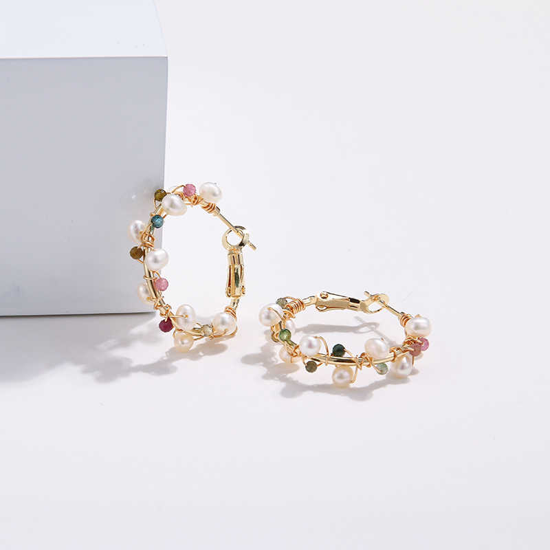 YMYW высокое качество темперамент Природный турмалиновый камень серьги-кольца Шарм пресноводный жемчуг серьги для женщин вечерние подарок Bijoux