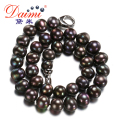 [DAIMI] Big Size Black Pearl Necklace 11-12mm Freshwater Classic White Pearl Choker Necklace  [FLIGHT BLACK]