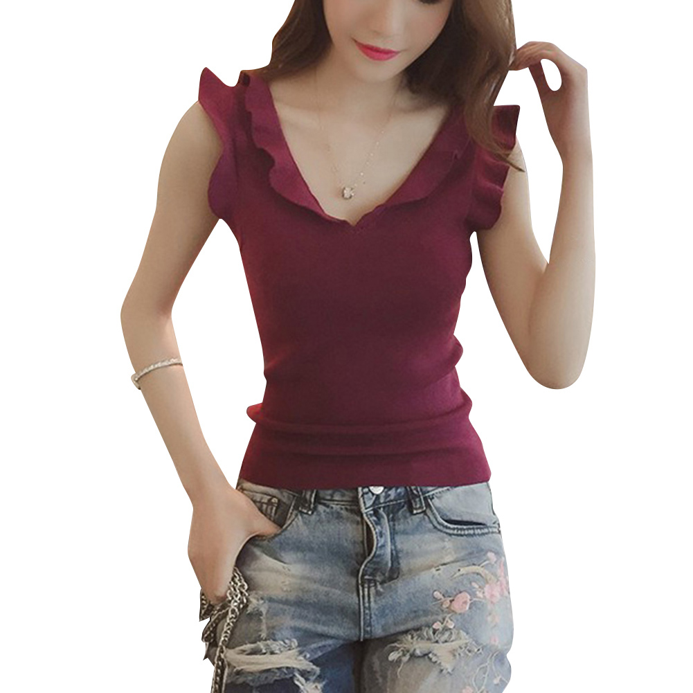 Women Summer Slim Sleeveless Knit Ruffle T-Shirt with Deep V Neck -MX8