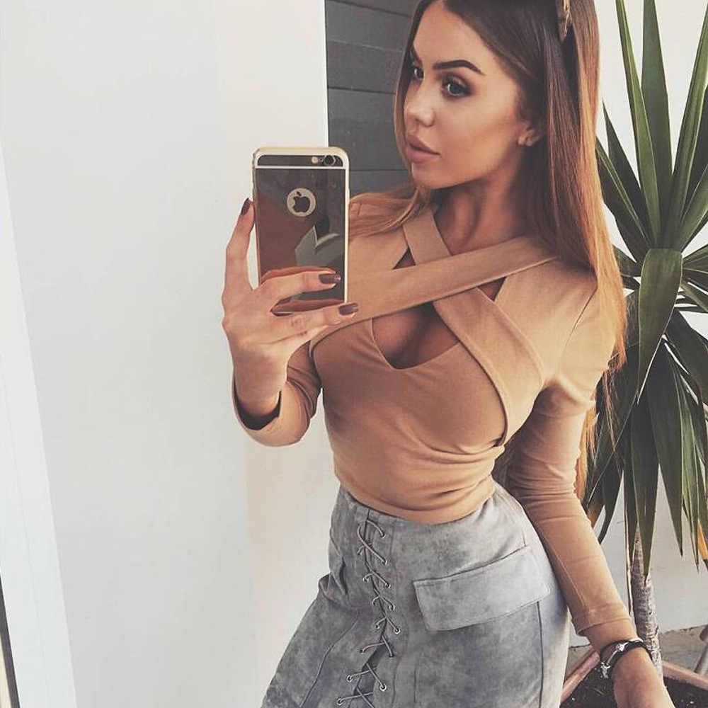 Women Bandage Crop Top Winter Solid Color Cross Neck Long Sleeve Sexy Tight Lady S Bandage Top Tanks Body Shirt Feminine Blusa