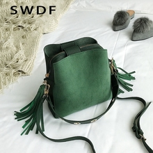 SWDF 2019 Fashion Scrub Women Bucket Bag Vintage Tassel Messenger Bag High Quality Retro Shoulder Bag Simple Crossbody Bag Tote