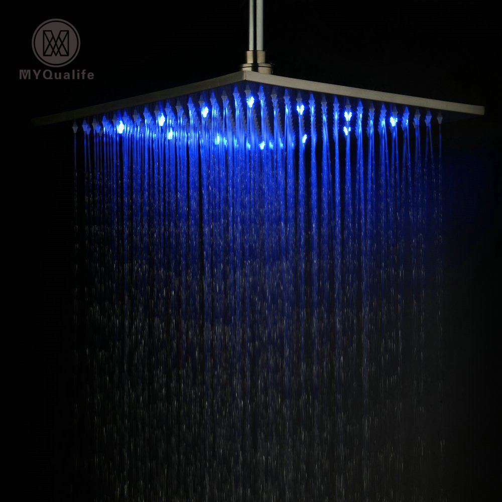 12 Inch Rainfall Stainless Steel Shower Head Bathroom Brushed Nickel Square LED Shower Head nickel brushed square 12 rainfall shower head bathroom stainless steel showerhead with shower arm