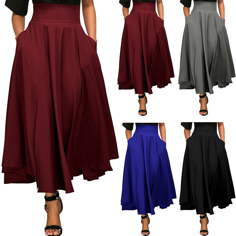Vintage Plus Size Swing Solid Color High Waist Back Lace Up Flared Pleated Belted Long Maxi Skirt Side A Line With Pockets