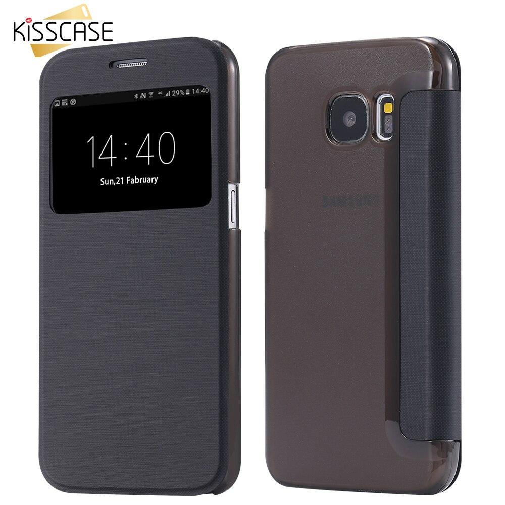 KISSCASE Open Window Flip Leather Case For Samsung Galaxy ...
