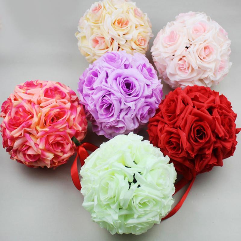 unids bolas para decoracin de la boda cm rosas de flores de seda artificial