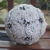 Vintage Luxury Rhinestone Bridal Hand Bouquet Ribbon Artificial Wedding Bouquet Full Of Diamond Crystal Wedding Bouquet W850