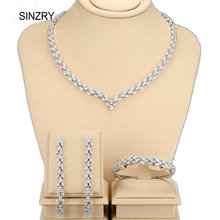 SINZRY luxury jewelry cubic zirconia wheatear trendy necklace & earrings bracelets set brilliant wedding jewelry sets bridal