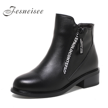 2017 Winter Women Boots Women Genuine Leather Boots Rubber Shoes Height Increasing Ankle Boots Black Boots P Size 35-43 M3.5