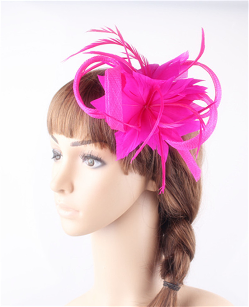 497efb88462d 21Colors Women Small Sinamay hot pink Fascinators headwear Feather Flowers  Hair Clip Accessories Bridal Brooch for Wedding party