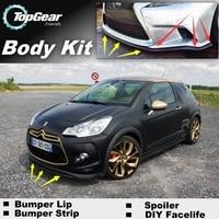 Bumper Lip Deflector Lips For Citroen DS3 2009~2015 Front Spoiler Skirt For TopGear Fans Car Tuning View / Body Kit / Strip