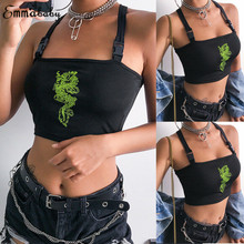 US Women Buckle Vest Boob Tube Crop Top Sport Cross Bandage Tee bag buckle Tee Dragon Embroidery Tee twist hem glitter crop tee
