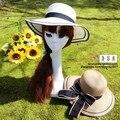 Nueva moda dom sombrero de verano Chapeau playa trave sombreros de paja arco ala ancha sombrero del cubo para mujeres visera