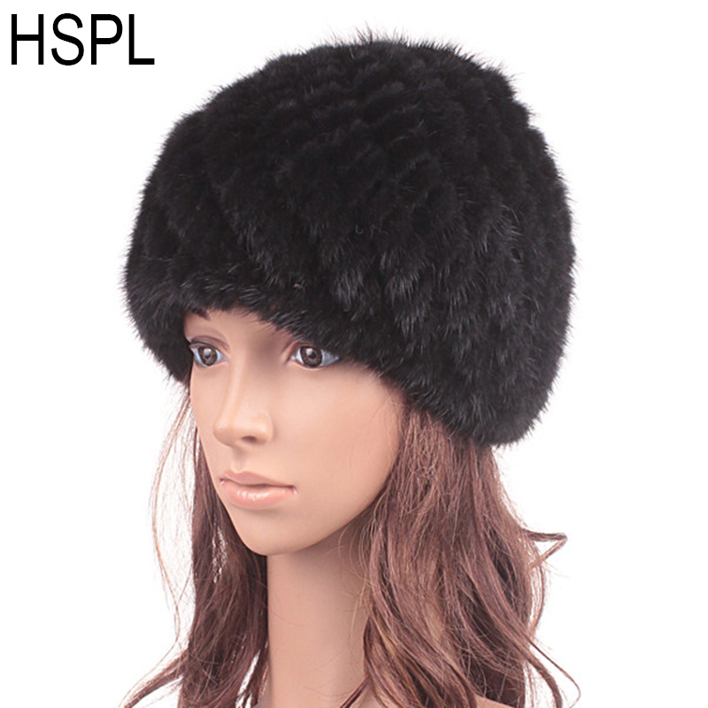 HSPL Fur Hat Guarantee 100% Natural  Mink Fur Cap Women Knitted Black Beanie Hats For Winter Bone Fashion Warm Pineapple Caps russian hats for extremely cold fur hat guarantee 100