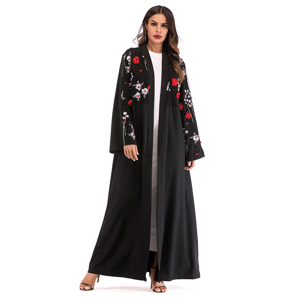 Abaya 2018 Dubai Muslim Abayas for Women Casual Appliques Floral Long Sleeve Islamic Dress Islam Clothing Black Moslim Jurken
