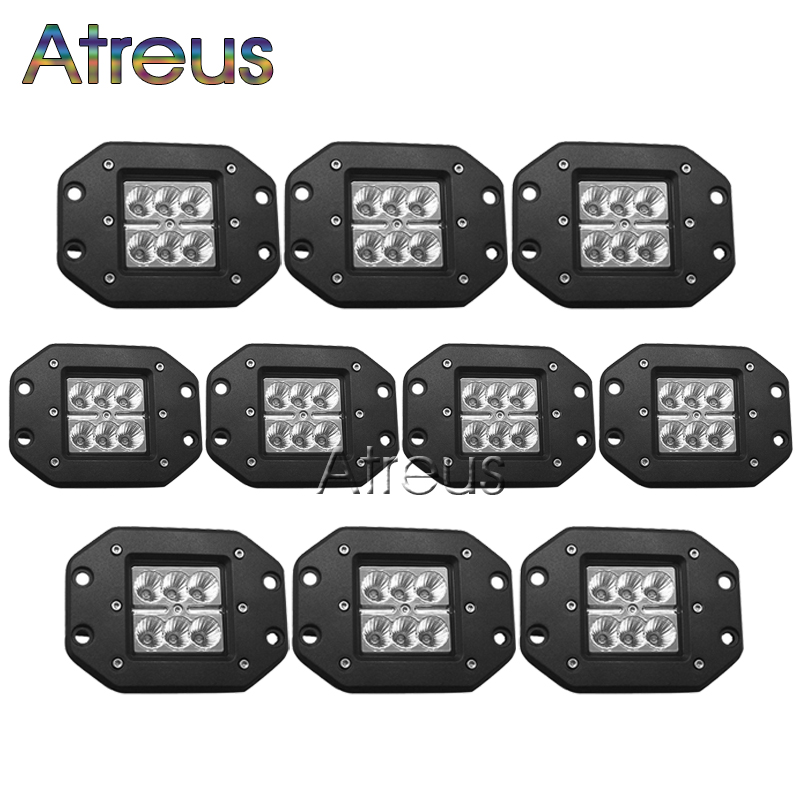 Atreus 10Pcs 18W Car LED Work Light Bar 12V Spot Flood DRL Lamp For ATV Truck 4x4 Offroad 4WD Trailer Boat Driving Fog Lights