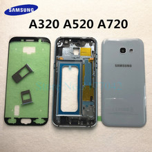 A720 A320 A520 Batterij Cover Voor Samsung Galaxy A3 A5 A7 2017 A320F A520F A720F Back Cover + Midden Frame volledige Behuizing Case