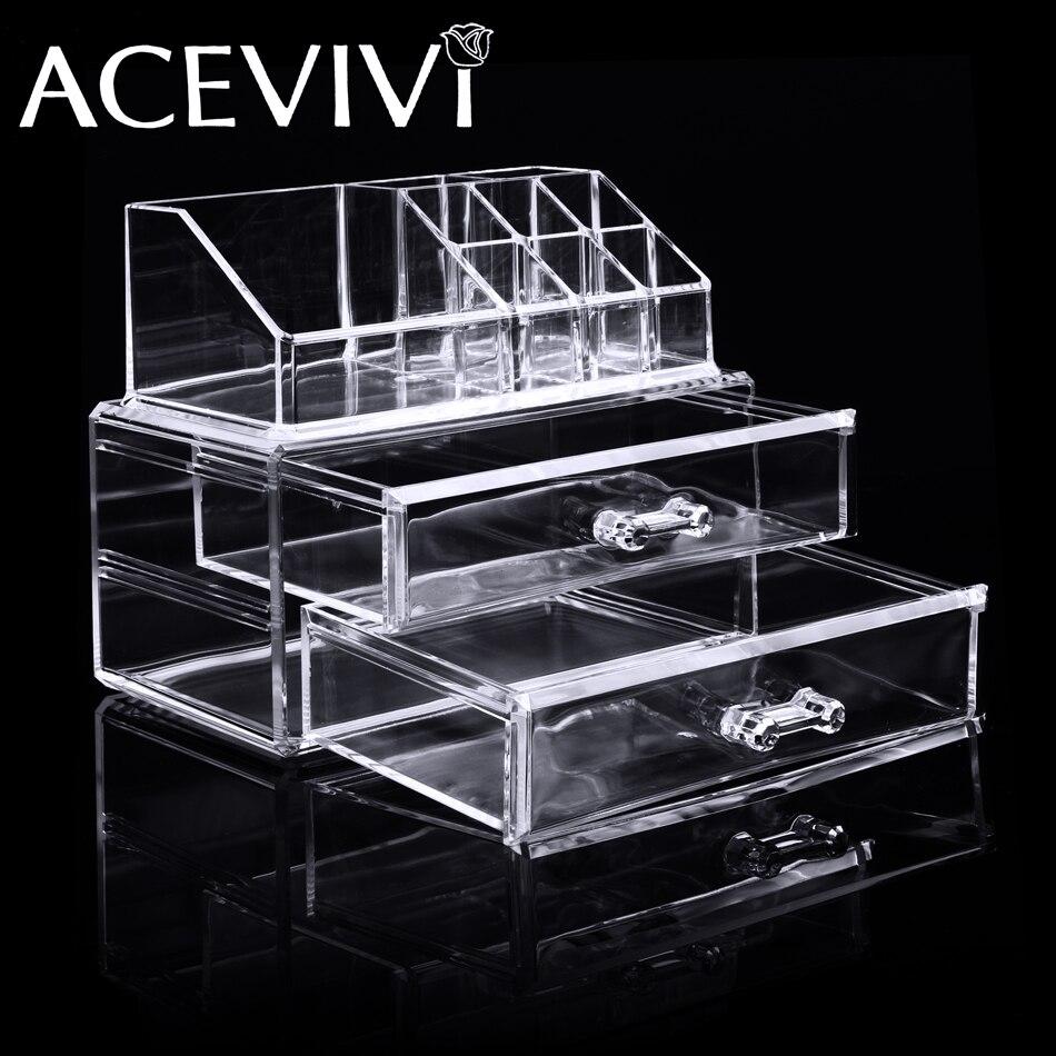 cb58cb5cb04e Makeup Cosmetics Organizer Clear Acrylic 2 Drawer 8 Grid Display ...