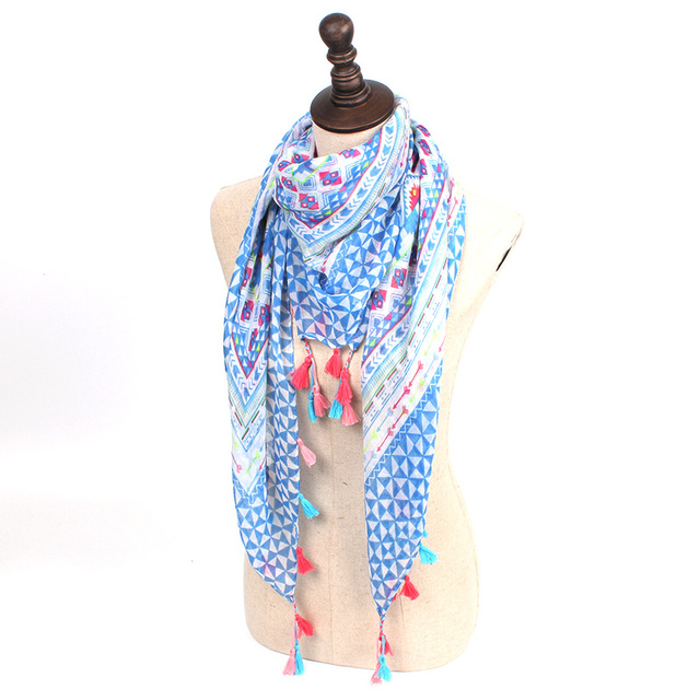 Floral Geometry Tassel Scarf | Shawls and Wraps | Up to 60% Off Now