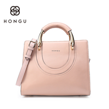 Hongu Light Luxury Genuine Leather Women Metal Handle Tote handbags Famous Brands Lady Shoulder Bags Individual designer louis
