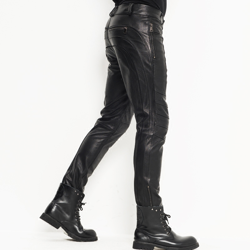 Men's Leather Pants Moto&Biker Punk Rock Pants Nightclub Slim Sheepskin Leather Trousers  WZS005