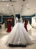 Luxury Ball Gown Wedding Dress 2018 Stunning New Arrival Crystal Applique Tulle Long Sleeve Bride Dresses with Long Train