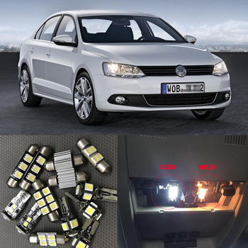 цена на 13pcs Bright Auto Interior LED Light Bulbs White Canbus Kit For 2014 Volkswagen VW Jetta 6 MK6 VI Map Dome Vanity Mirror Lamp