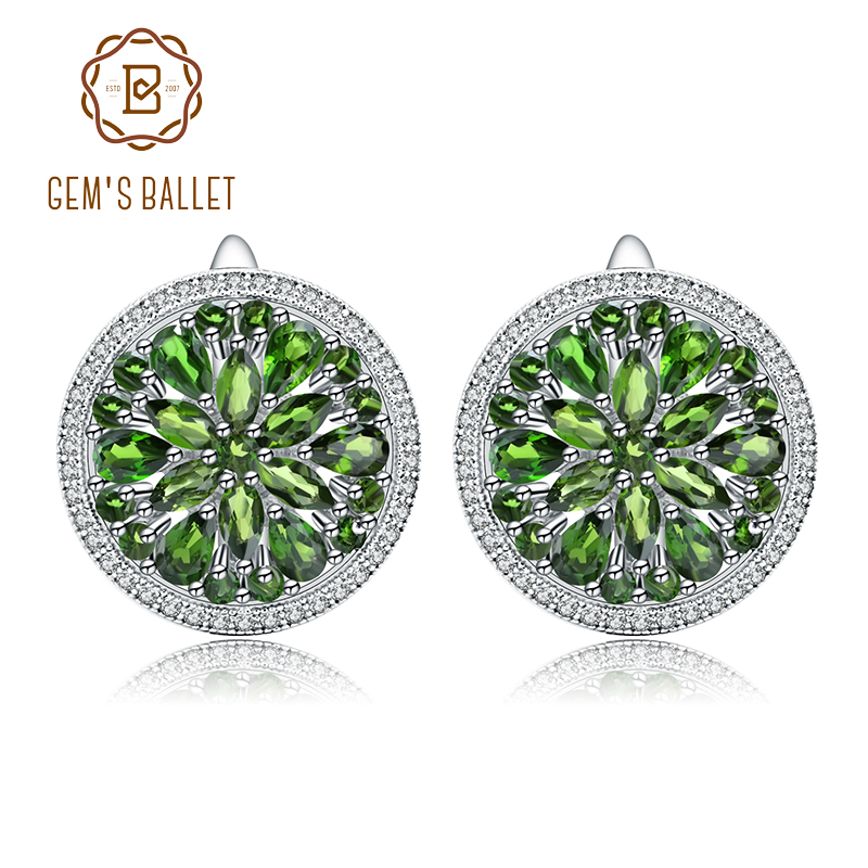 GEM S BALLET 7 01Ct Natural Chrome Diopside Gemstone 925 Sterling Silver Classic Stud Earrings for