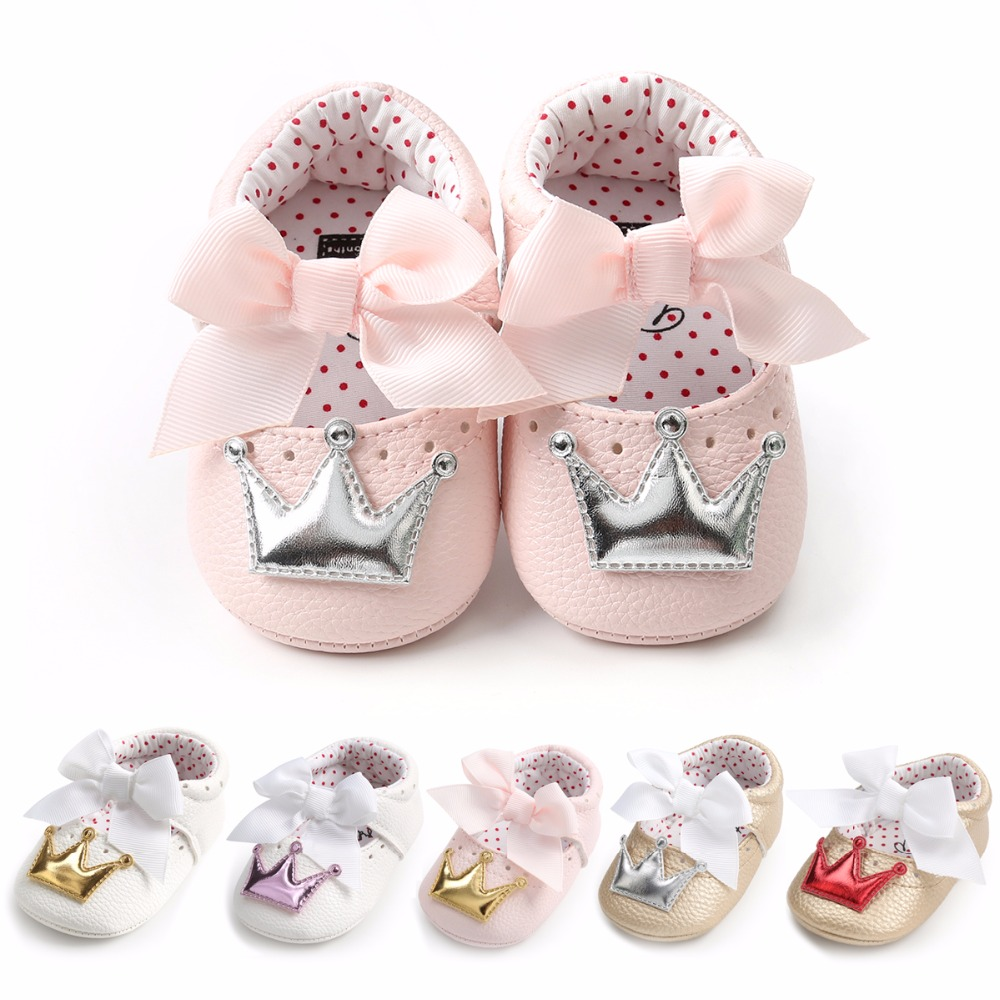 2019 Autumn New Style Crown Princess Shoes For Toddler Baby Girls Big White Bow Hard Sole Newborn Firstwalkers Moccasins Shoes