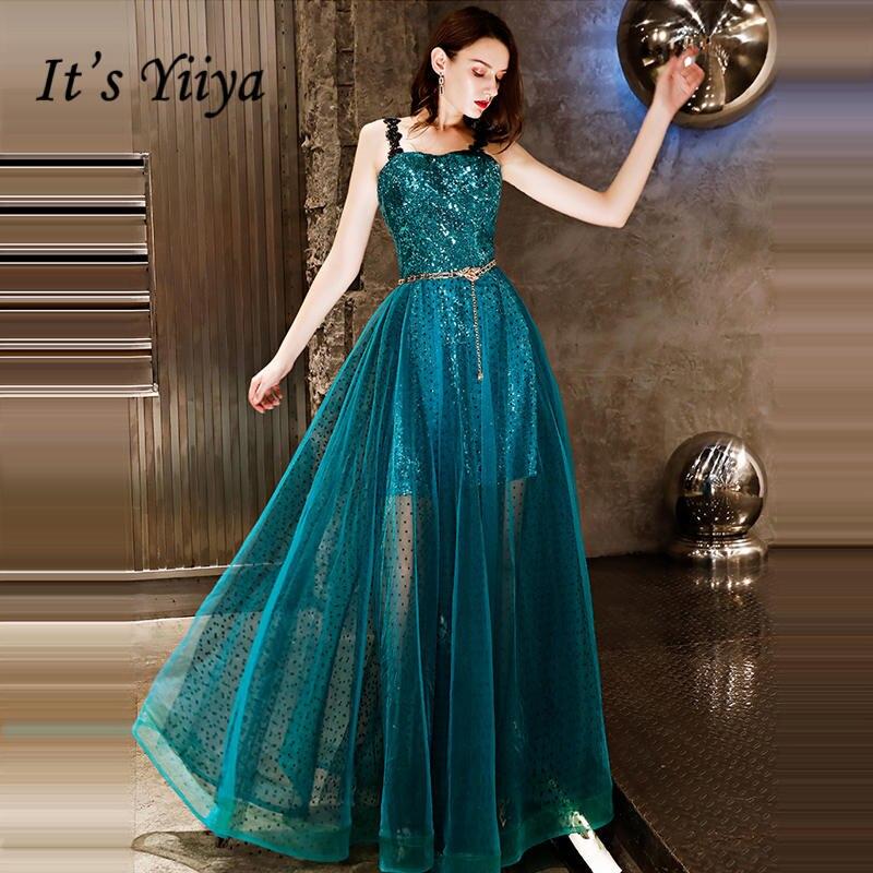 273ae86190f Это YiiYa вечернее платье 2018 Спагетти ремень Зеленый блестками черный  горошек печати трапециевидной формы вечерние платья