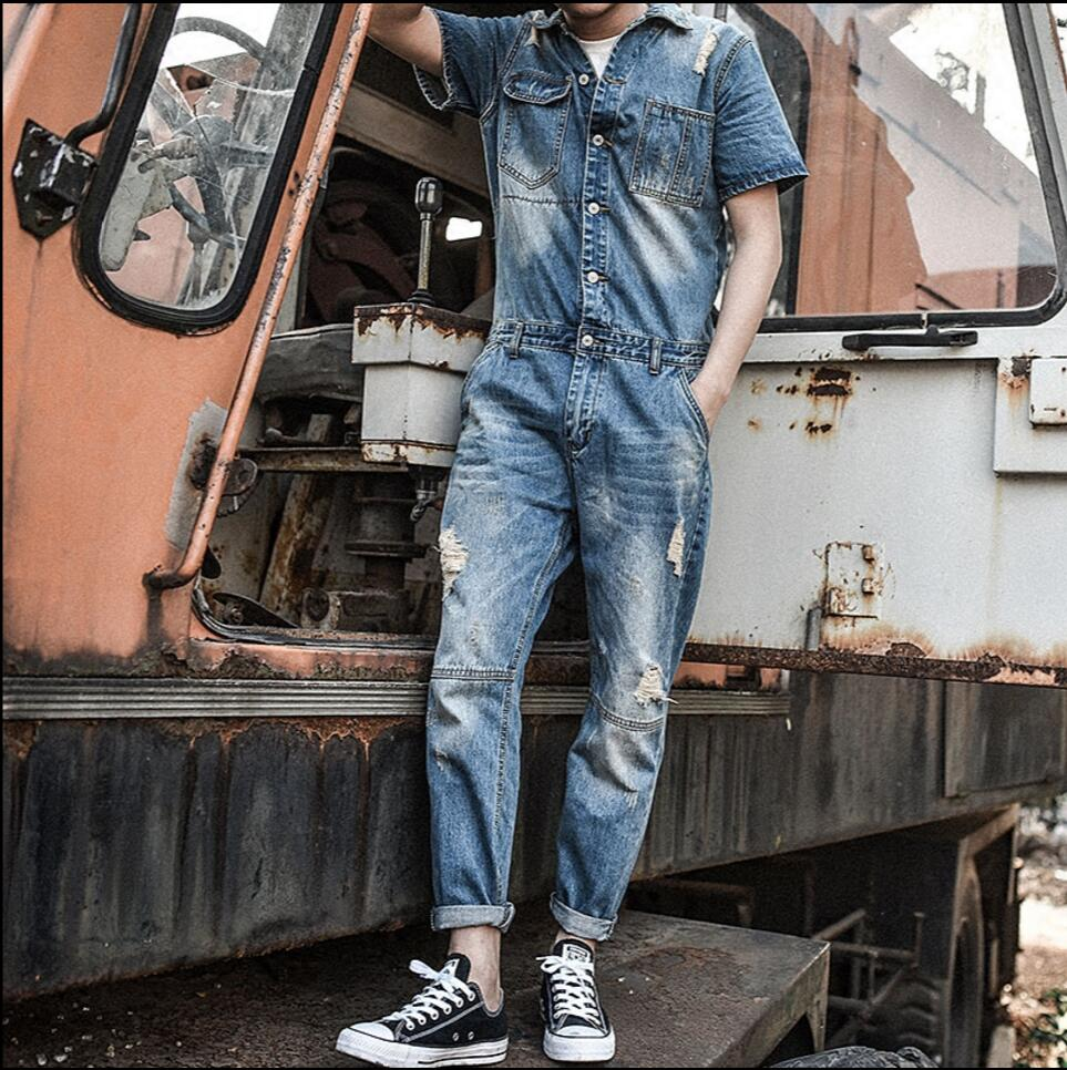 New Arrival casual men Short sleeves denim overalls jumpsuit blue vintage singer costumes Ripped Denim Bib Overalls pants 060801 2017 summer new men denim strap pantyhose tide one piece suspenders denim overalls pants bib trousers jeans singer costumes